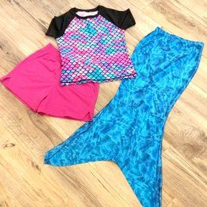 justice mermaid tail, rash guard, shorts bundle